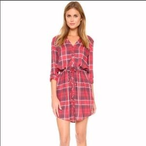 Soft Joie Red Cassina Plaid Shirt Dress Size XS